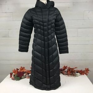 Patagonia Long Down Hooded Coat Size Small Black
